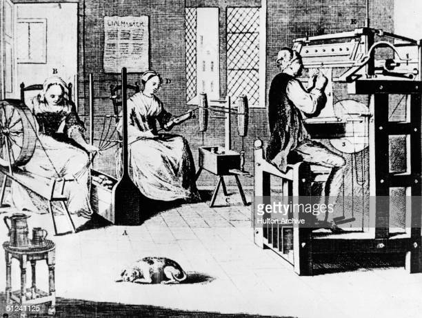 Family at work in their textile shop, which is equipped for making knitwear. On the left, a woman uses a spinning wheel, and in the centre, a woman...