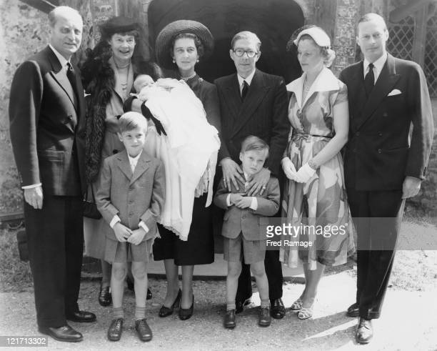 Family attending the christening of Princess Victoria Marina Cecilie daughter of Prince Frederick of Prussia and Lady Brigid Von Preussen at St...
