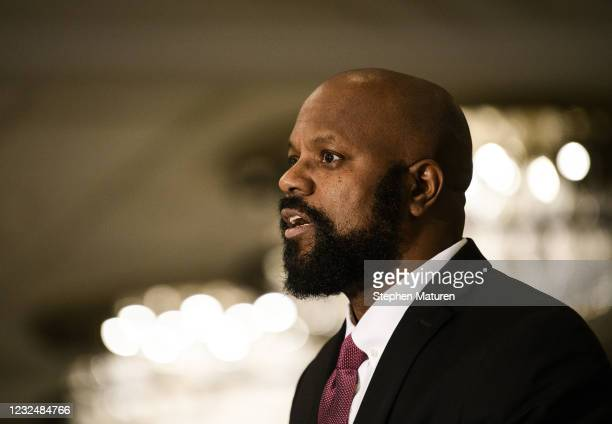Family attorney Thomas Bowers speaks during a press conference with the family of Chyna Whitaker, mother of Daunte Wright Jr., on April 23, 2021 in...