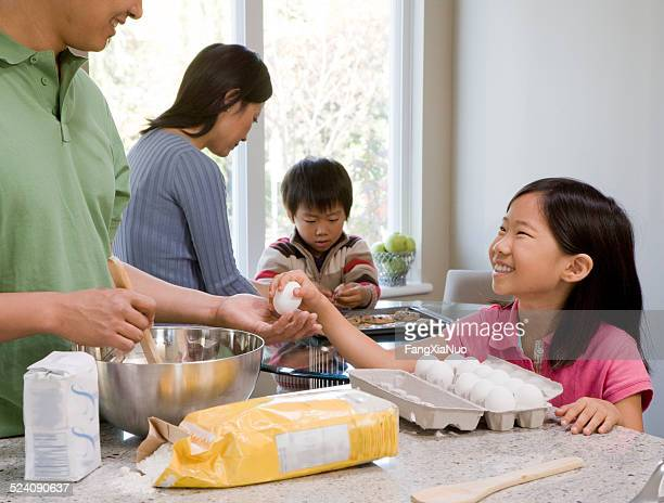 Family Baking and Cooking in Kitchen