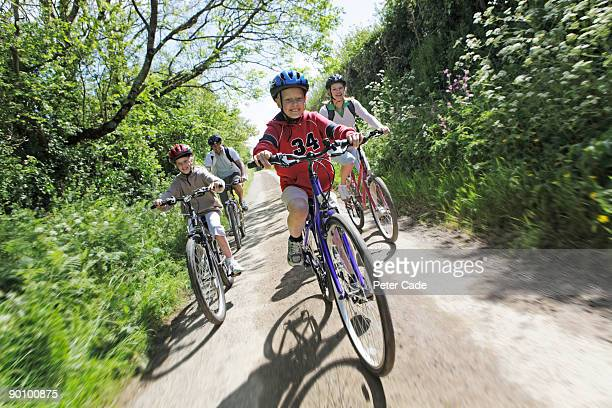 family bike ride in country