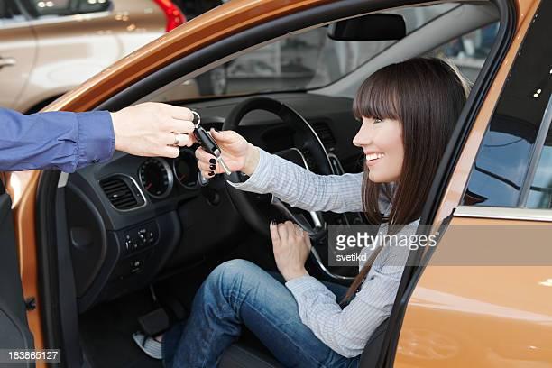 Family buying car.