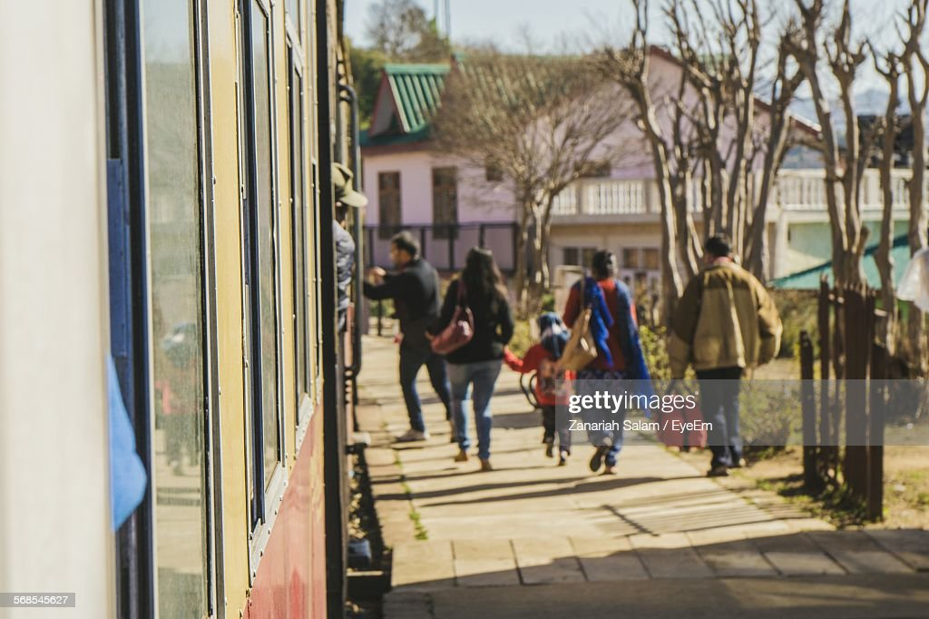 Family By Train At Railroad Station Platform : Stock Photo