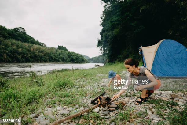 Family camping by river, Tochigi, Japan