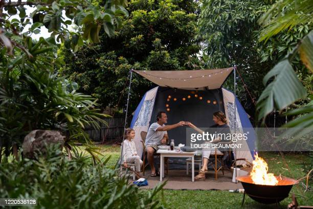 family camping in backyard - domestic garden stock pictures, royalty-free photos & images