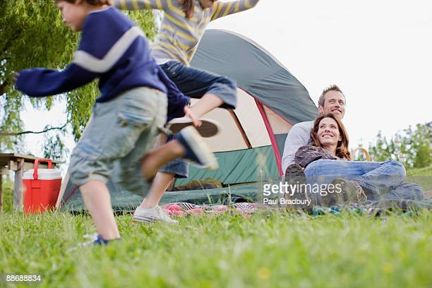 Family camping in remote area