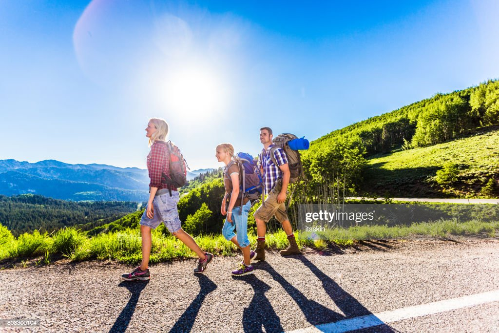 Family Camping In The Mountains Stock Photo