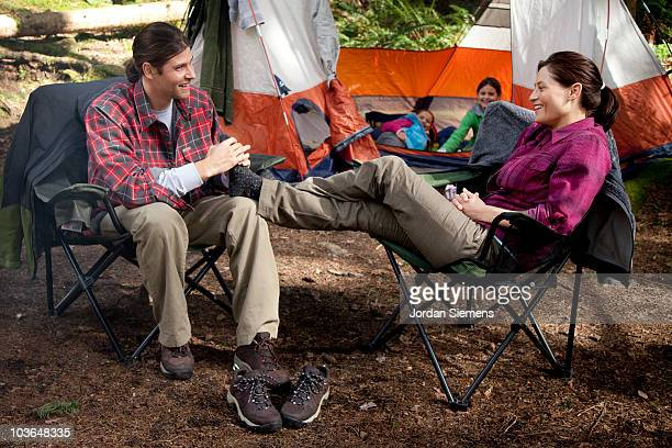 family camping in the wilderness. - foot massage stock photos and pictures