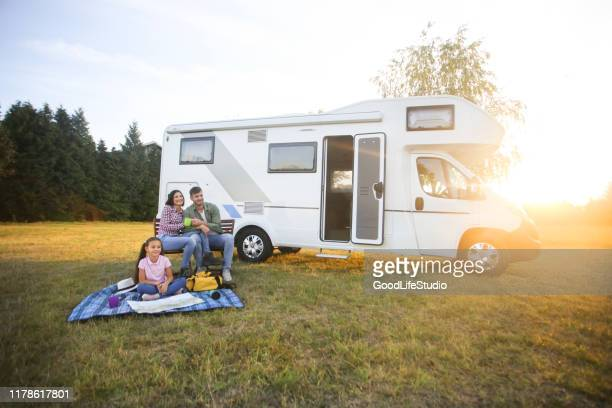 family camping - camper trailer stock pictures, royalty-free photos & images