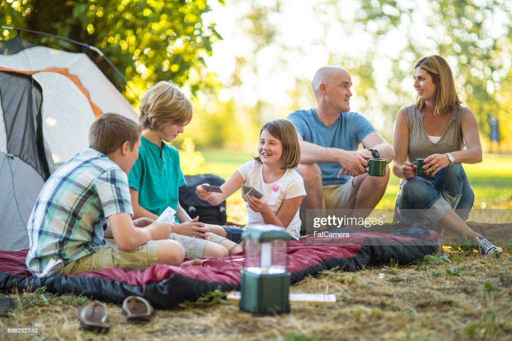 family camping trip stock photo getty images