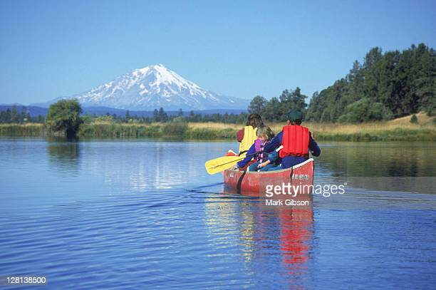 family canoeing, ahjumawi sp, ca - mt shasta stock pictures, royalty-free photos & images