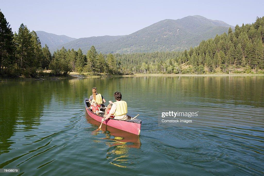 Family canoeing : Stockfoto
