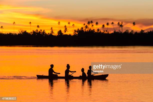 Family Canoeing Silhouette at Sunrise Solomon Islands Malaita