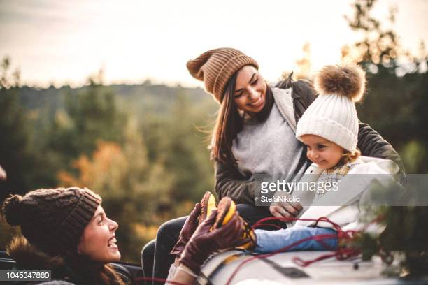 family carrying christmas tree - four people in car stock pictures, royalty-free photos & images