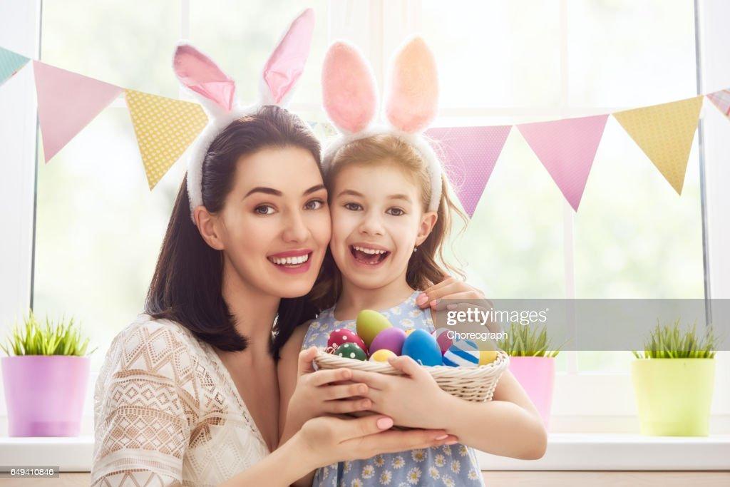 family celebrate Easter : Stock Photo