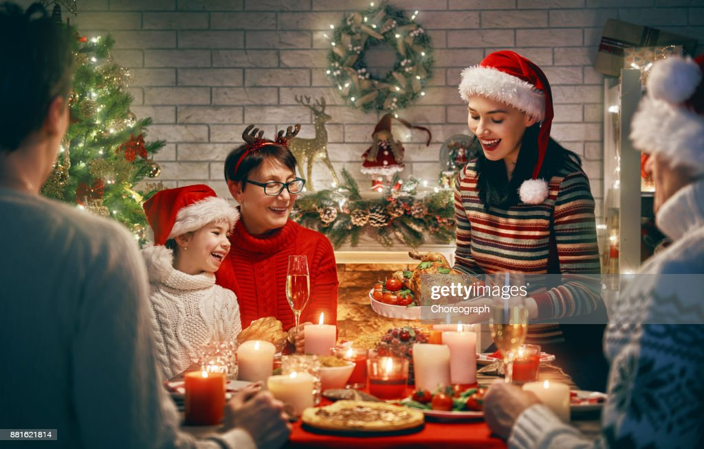 Family celebrates Christmas. : Stock Photo
