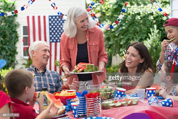 Family celebrating 4th of July