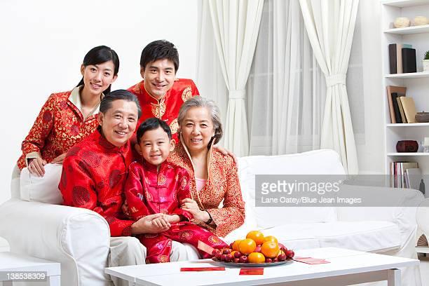 Family Celebrating Chinese New Year portrait
