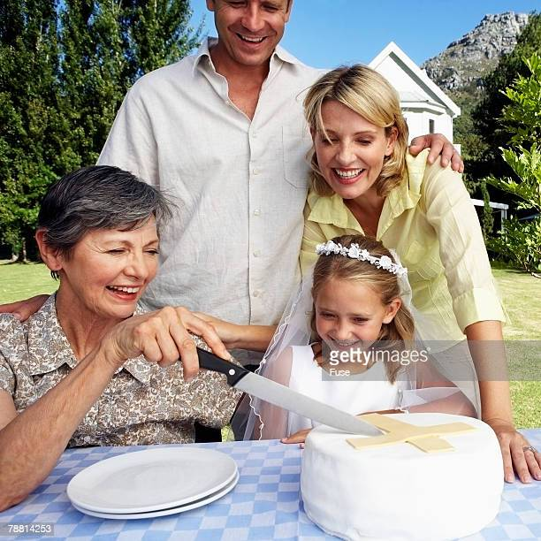 Family Celebrating Daughter's First Communion