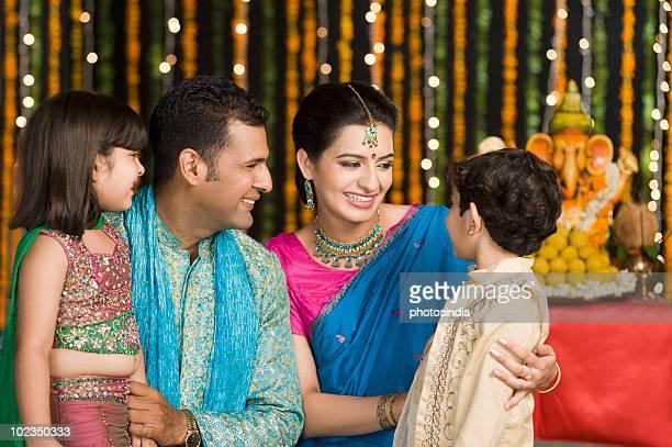 Family celebrating Diwali