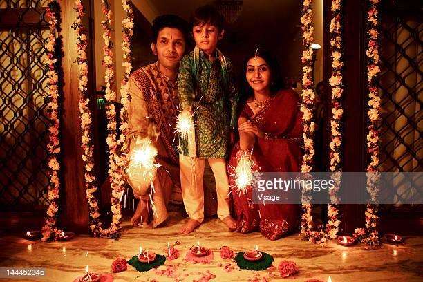 A family celebrating Diwali