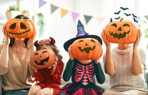 family celebrating Halloween 1172369802