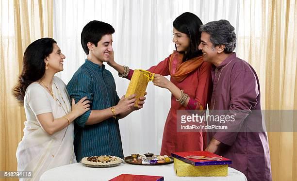 family celebrating rakhi - mangala sutra fotografías e imágenes de stock
