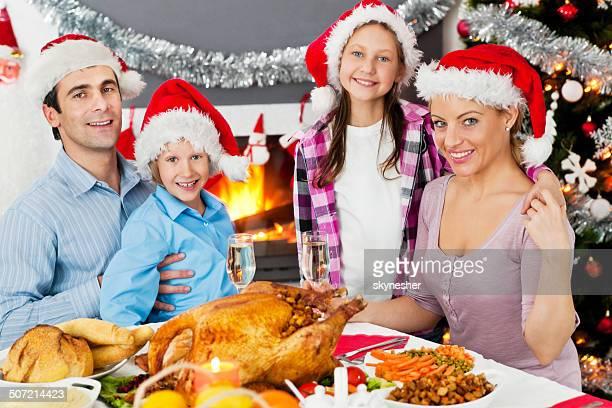 Family celebrating Thanksgiving.