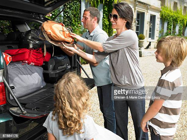 Family charging bags in the trunk