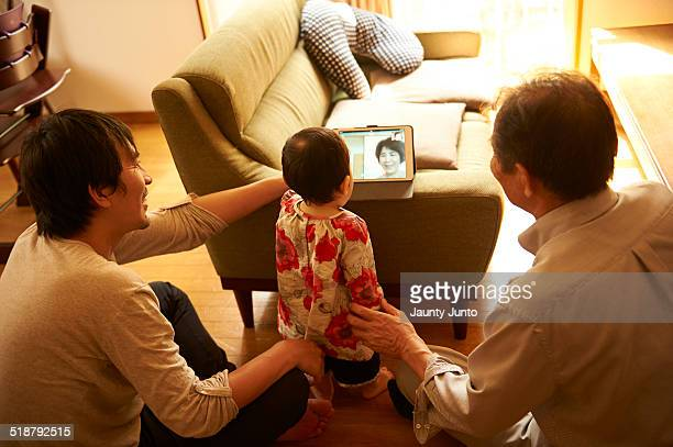 family chatting with online video call. Skype