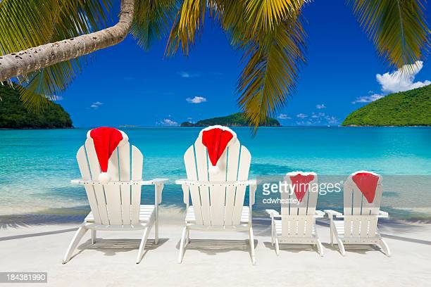 family christmas at the caribbean beach - caribbean christmas stock pictures, royalty-free photos & images