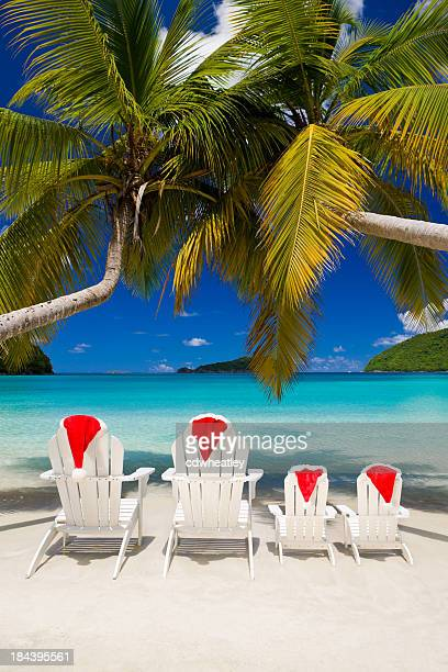 family christmas vacation at a tropical beach - caribbean christmas stock pictures, royalty-free photos & images