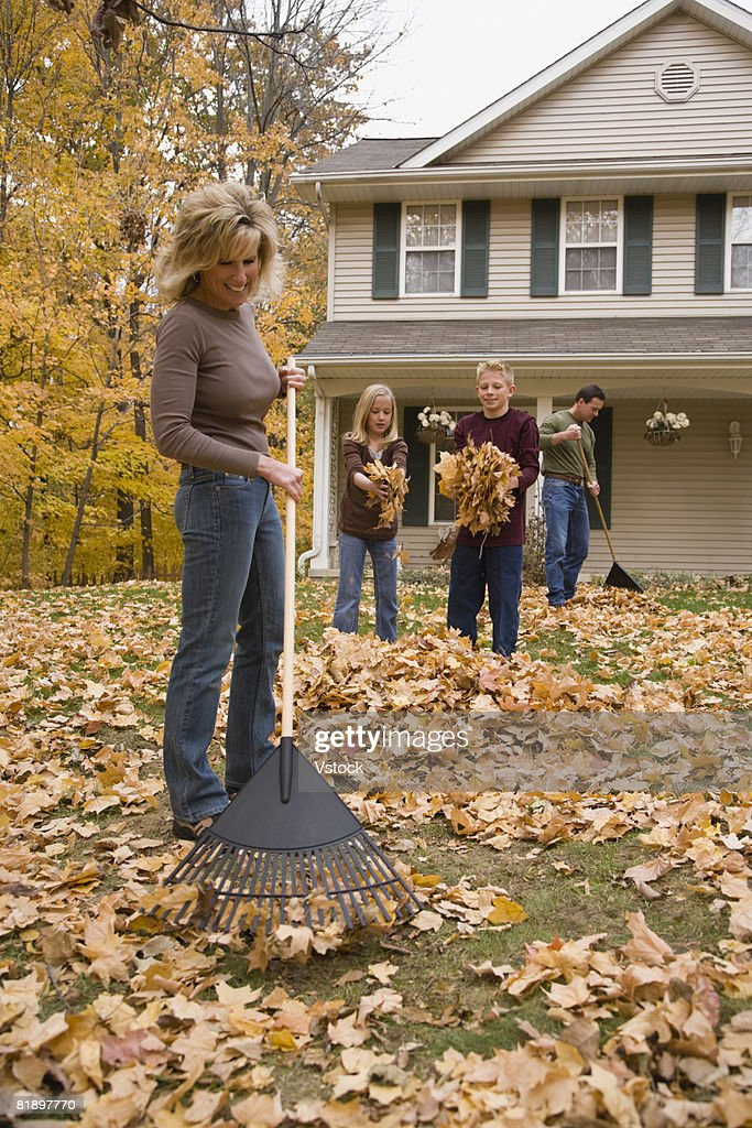 Family cleaning up autumn leaves : Stock Photo
