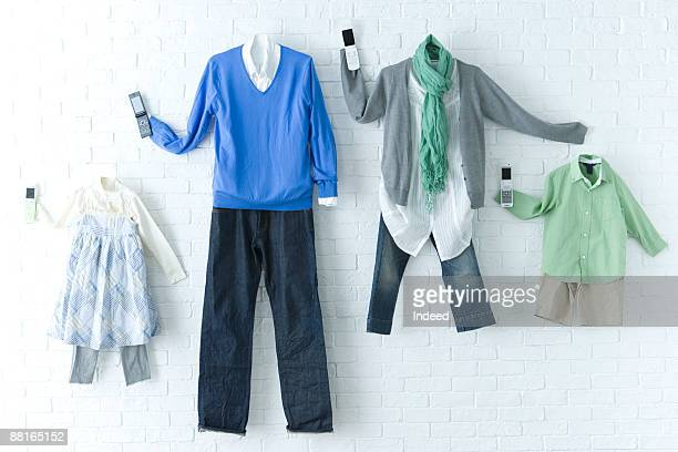 Family clothing with mobile phone