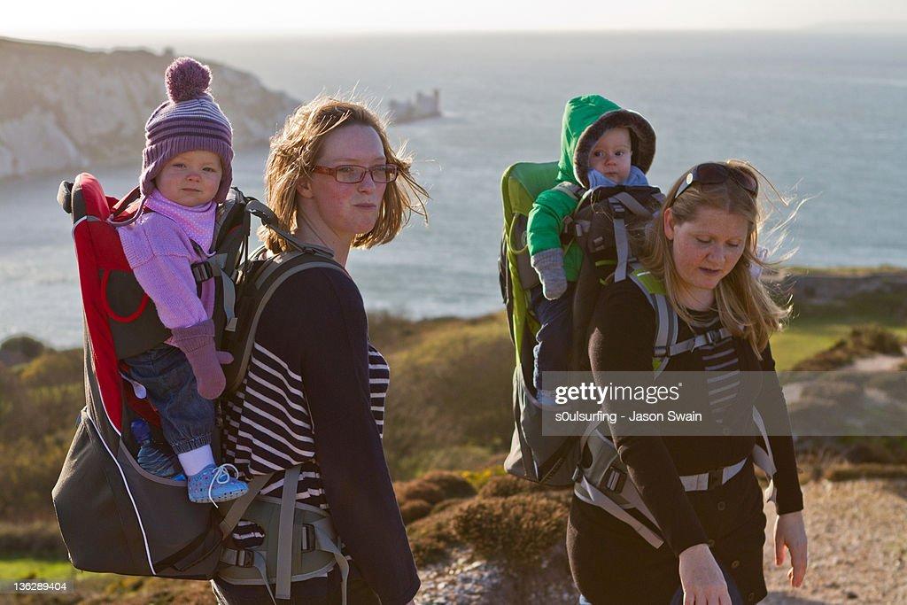 Family coastal walk : Stock Photo