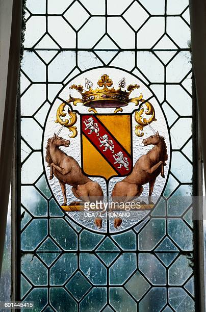 O family coat of arms stainedglass window of Chateau d'O Mortree Lower Normandy France 15th century