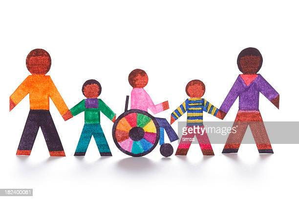 Family concept with wheelchair- paper dolls
