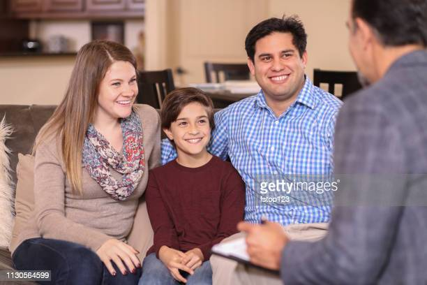 family counseling session at home with therapist. - psychotherapy stock pictures, royalty-free photos & images