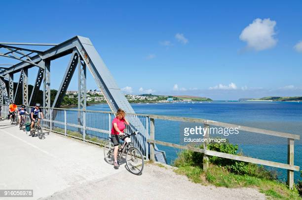 Family Cycling Along The Camel Trail A Public Cycle Way From Padstow To Wadbridge In Cornwall England Uk