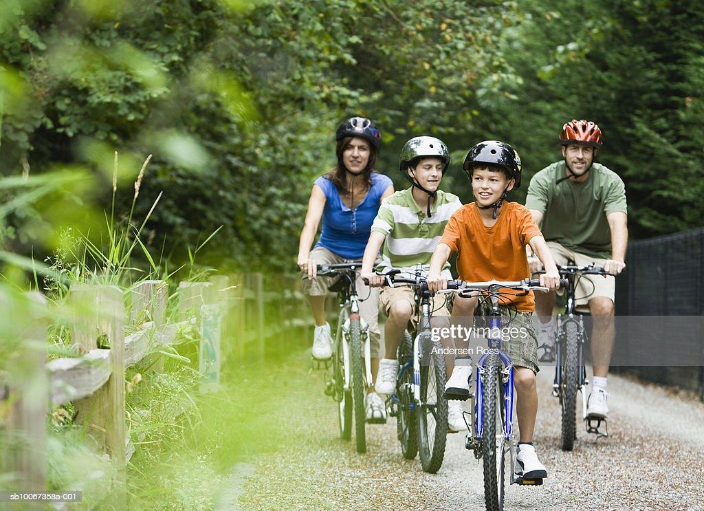 Family cycling in park : Bildbanksbilder