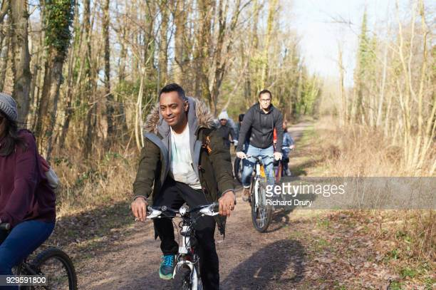 Family cycling on cycle track