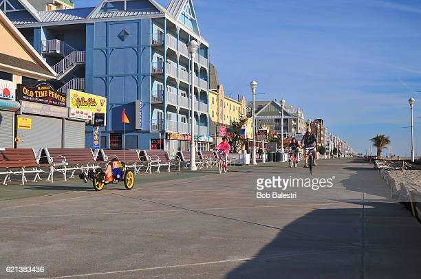 Family Cycling on Ocean City Boardwalk