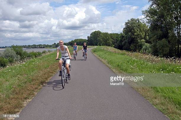 family cycling - loire valley stock pictures, royalty-free photos & images