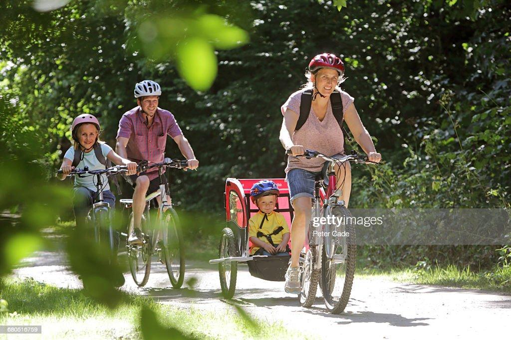 Family cycling : Stock Photo