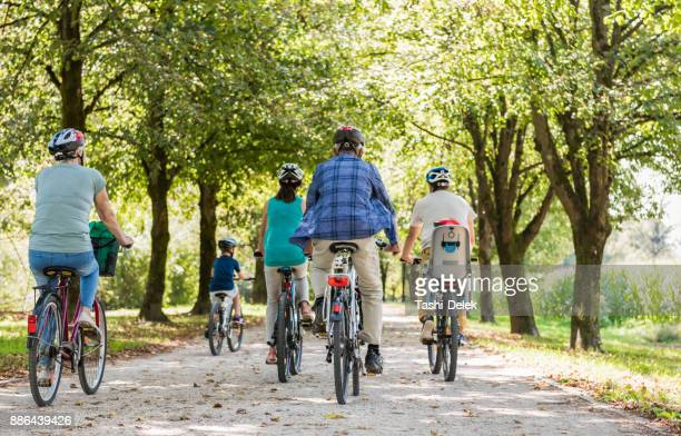family cycling together through park - bicycle stock pictures, royalty-free photos & images