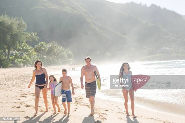 family day at the beach! - kauai stock photos and pictures