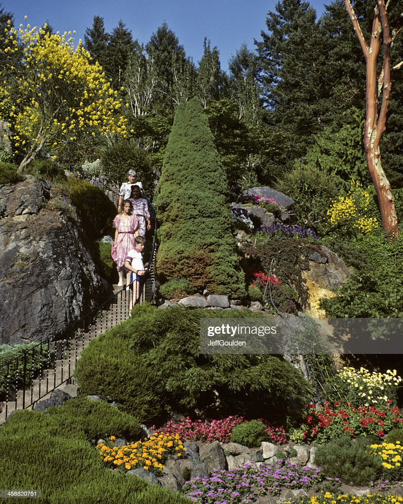 Family Descending A Staircase At Butchart Gardens Stock Photo ...