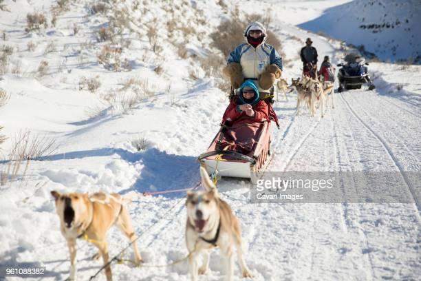 family dogsledding on snowy field - 犬ぞりに乗る ストックフォトと画像