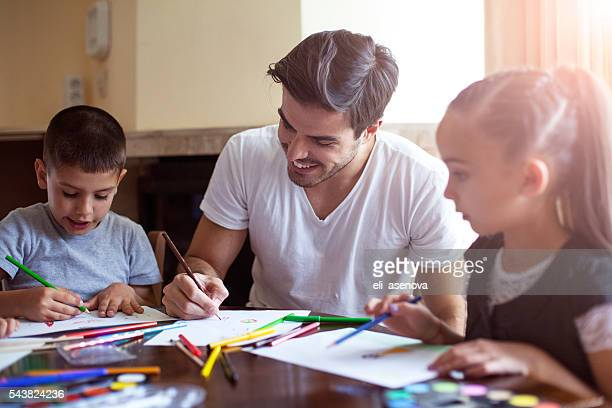 Family drawing together