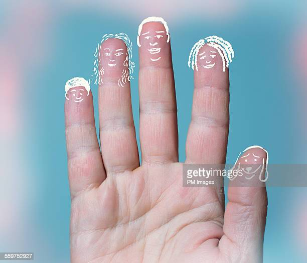 Family drawn on fingers